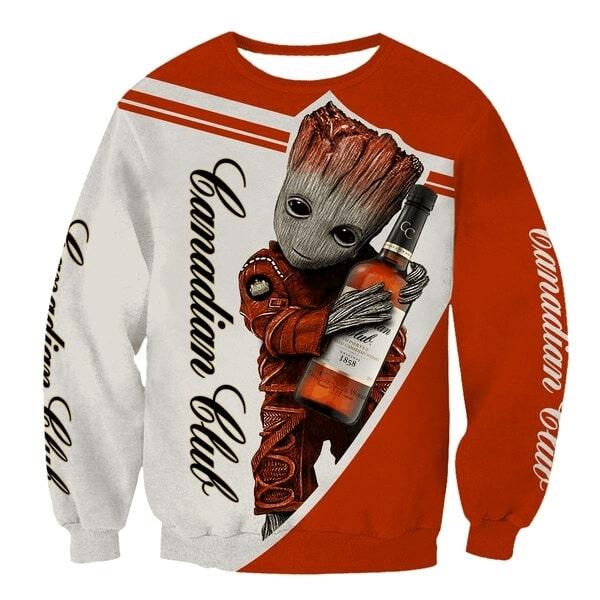 Groot hold canadian club full printing sweatshirt