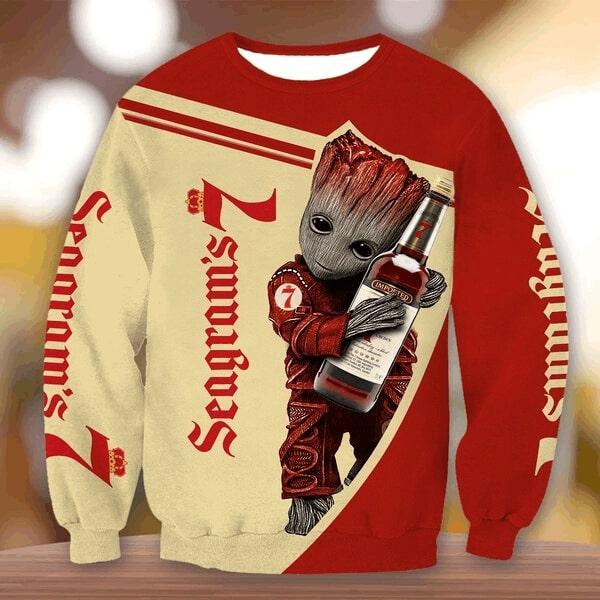 Groot hold seagram's 7 crown whiskey full printing sweatshirt