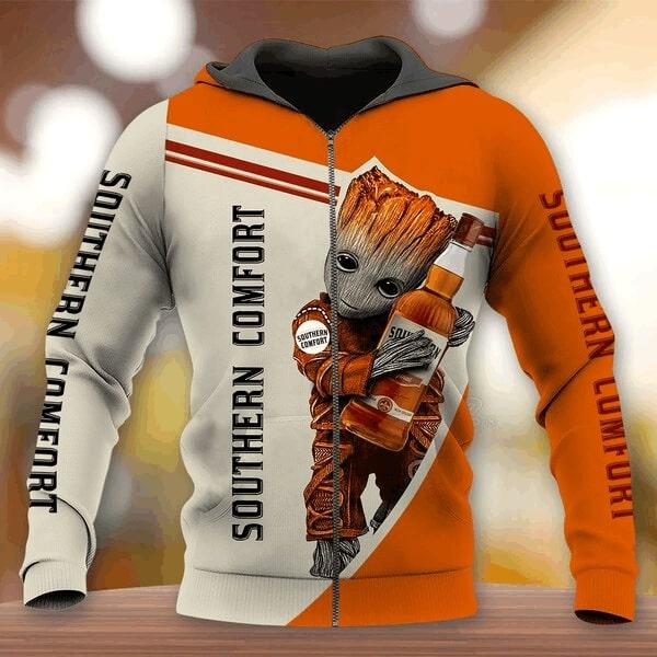 Groot hold southern comfort full printing zip hoodie