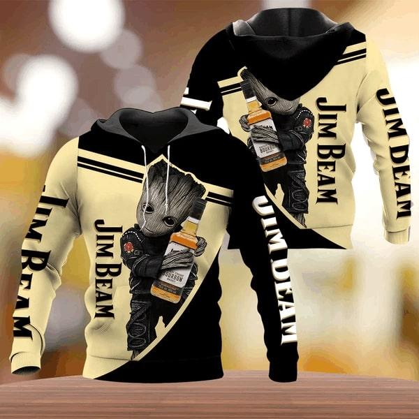 Groot hug jim beam whiskey full printing hoodie 2