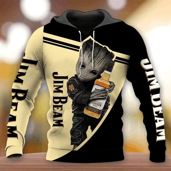 Groot hug jim beam whiskey full printing hoodie