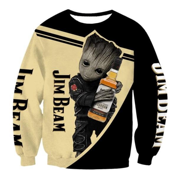 Groot hug jim beam whiskey full printing sweatshirt