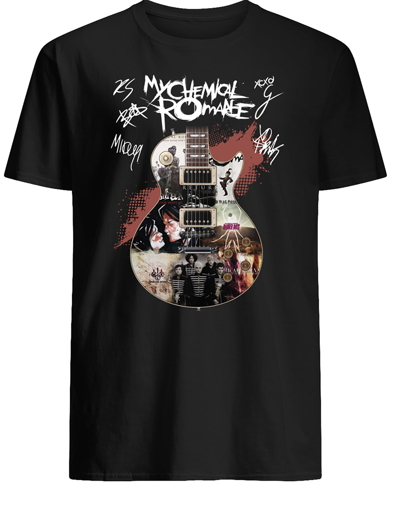 Guitar my chemical romance signatures mens shirt