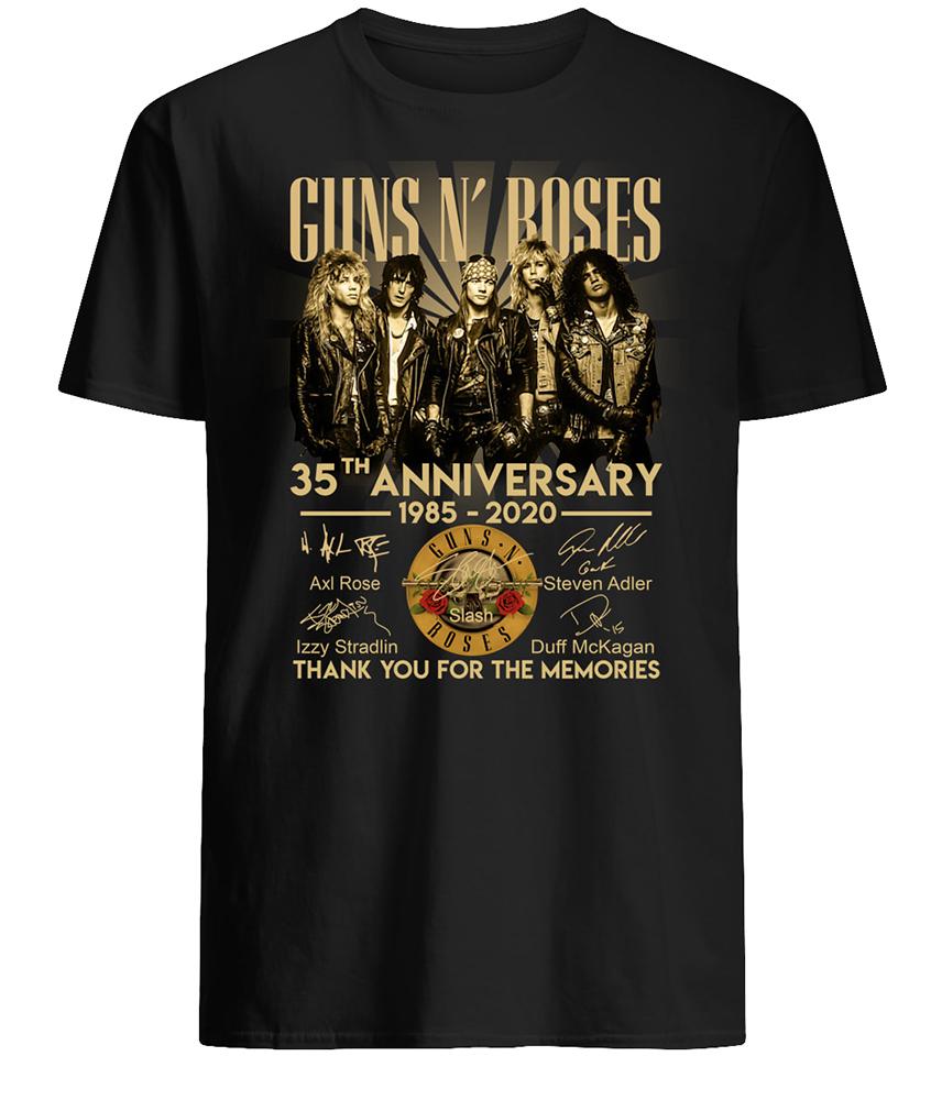 Guns n' roses 35th anniversary 1985-2020 signatures mens shirt