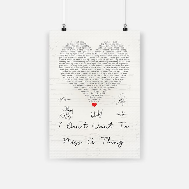 I don't want to miss a thing vintage heart quote song lyrics poster 2