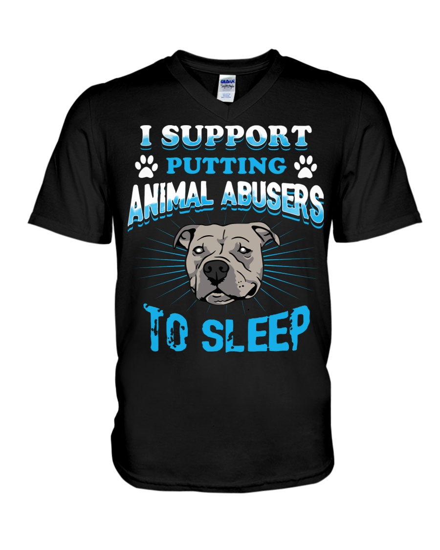I support putting animal abusers to sleep dog rescue v-neck