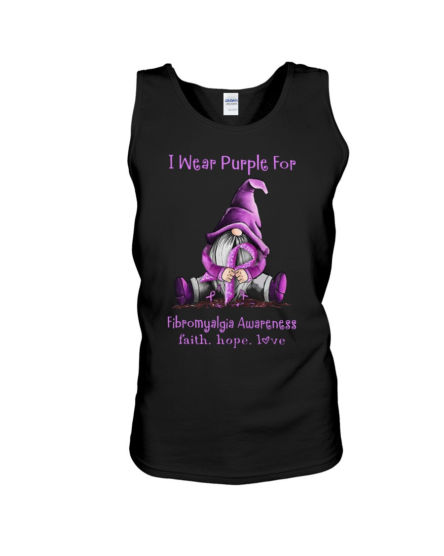 I wear purple for fibromyalgia awareness faith hope love tank top