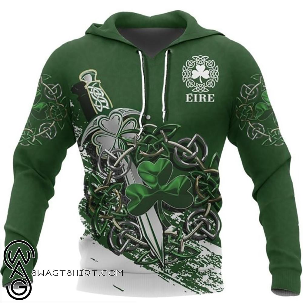 Ireland celtic shamrock and sword st patrick's day full printing shirt