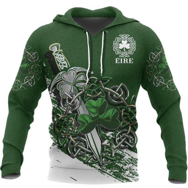 Ireland celtic shamrock and sword st patrick's day full printing hoodie