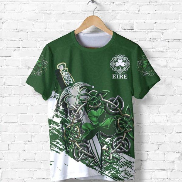 Ireland celtic shamrock and sword st patrick's day full printing tshirt