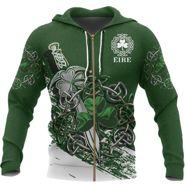 Ireland celtic shamrock and sword st patrick's day full printing zip hoodie