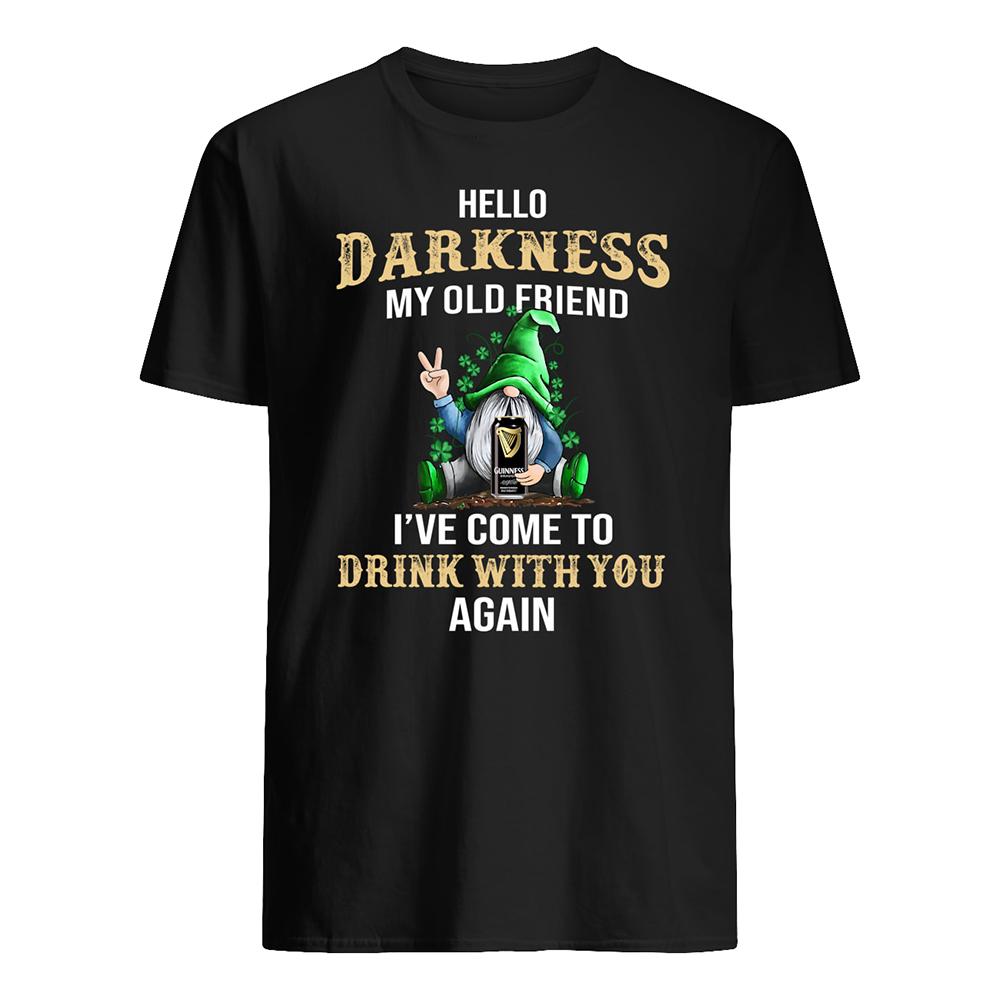 Irish gnome guinness hello darkness my old friend st patrick's day mens shirt