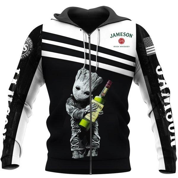 Jameson irish whiskey groot full printing zip hoodie