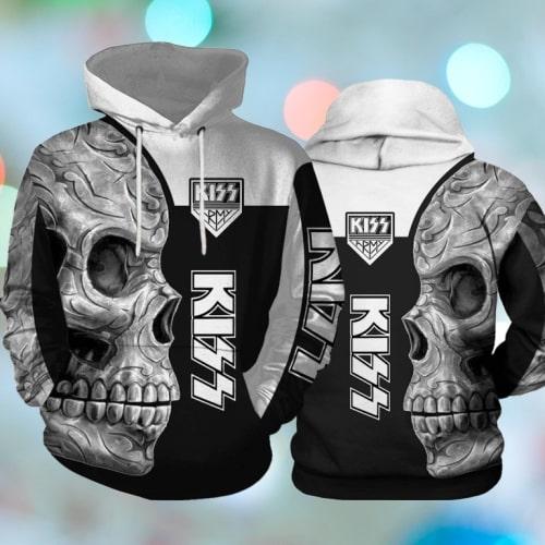 Kiss rock band skull full printing hoodie
