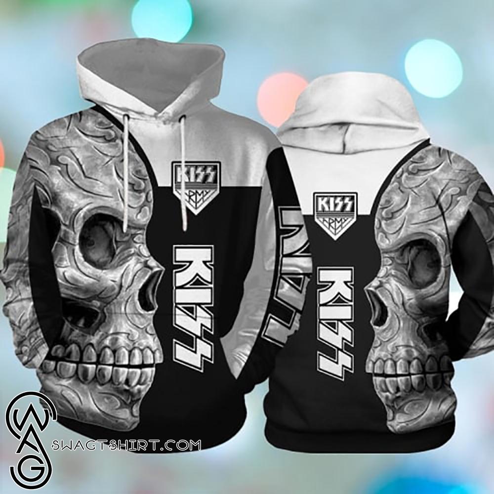 Kiss rock band skull full printing shirt