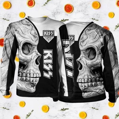 Kiss rock band skull full printing sweatshirt