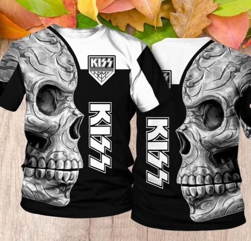 Kiss rock band skull full printing tshirt