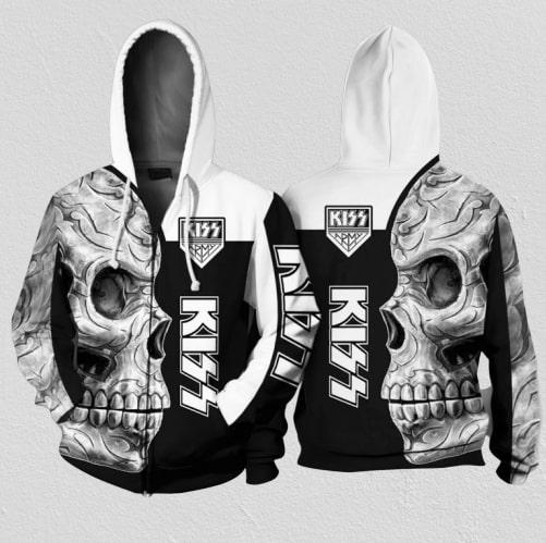 Kiss rock band skull full printing zip hoodie