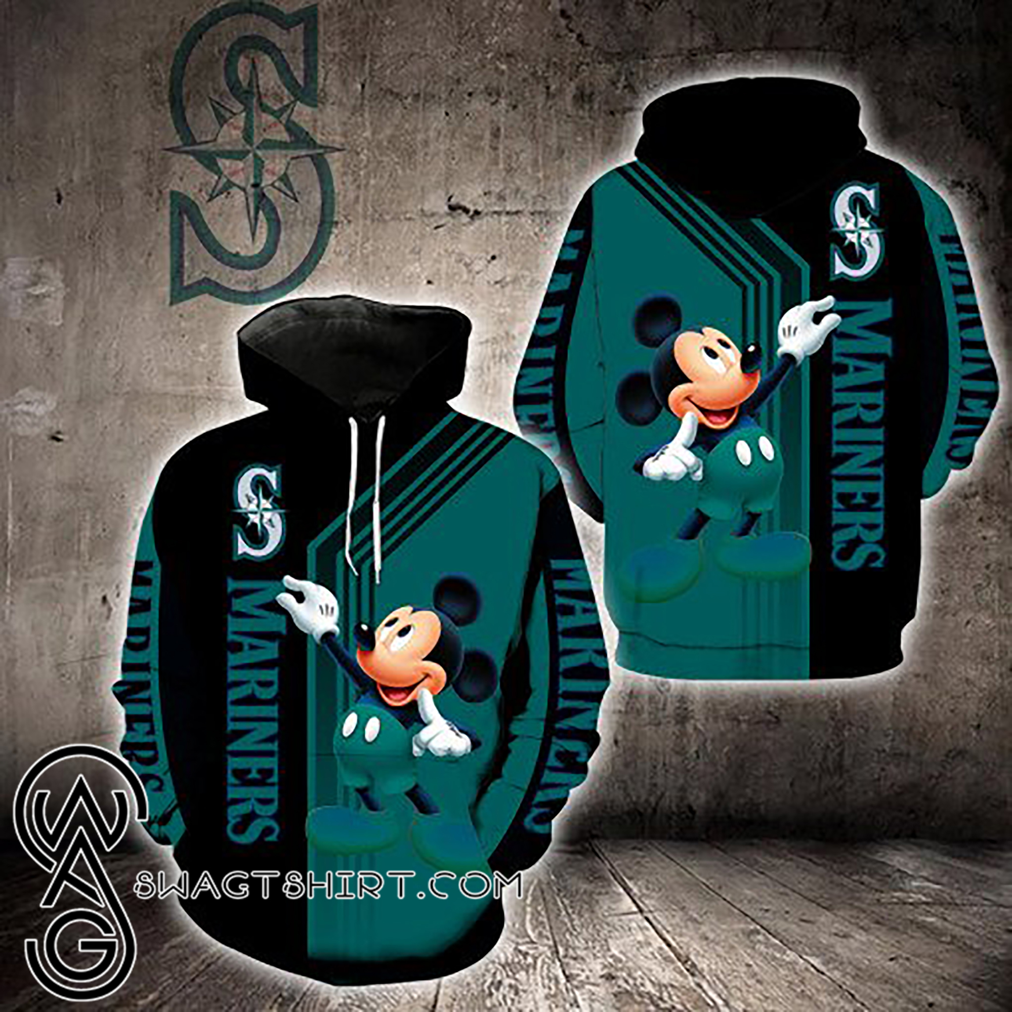 Mickey mouse seattle mariners all over print shirt