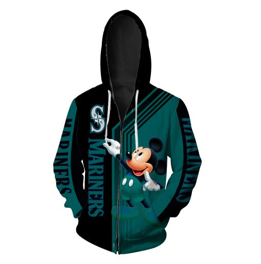 Mickey mouse seattle mariners all over print zip hoodie