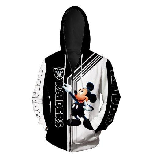 Oakland raiders mickey mouse full printing zip hoodie