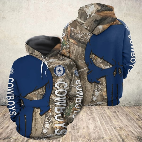 Skull camo dallas cowboys all over print hoodie 1