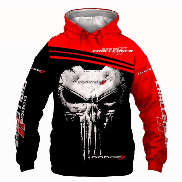 Skull dodge challenger full printing hoodie
