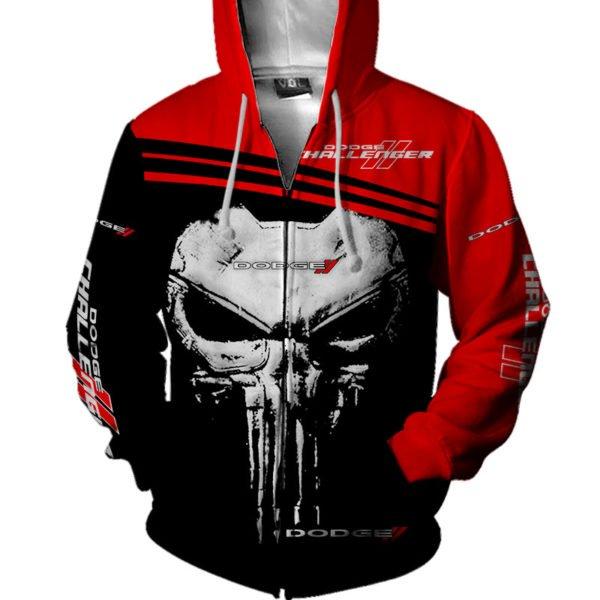 Skull dodge challenger full printing zip hoodie