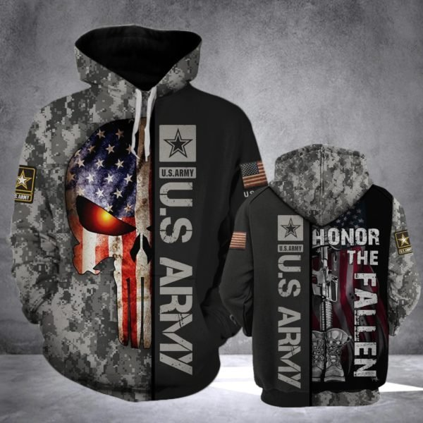 Skull us army honor the fallen camo all over print hoodie 3