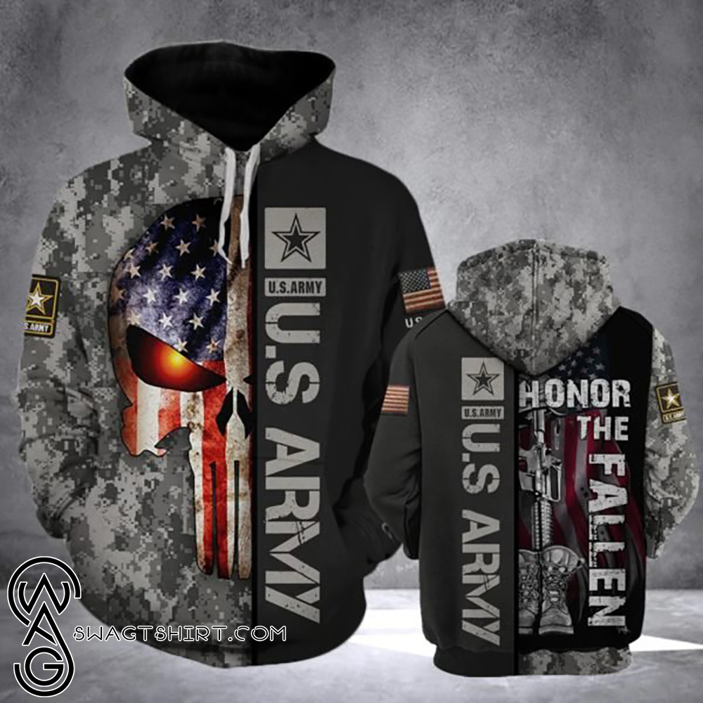 Skull us army honor the fallen camo all over print shirt