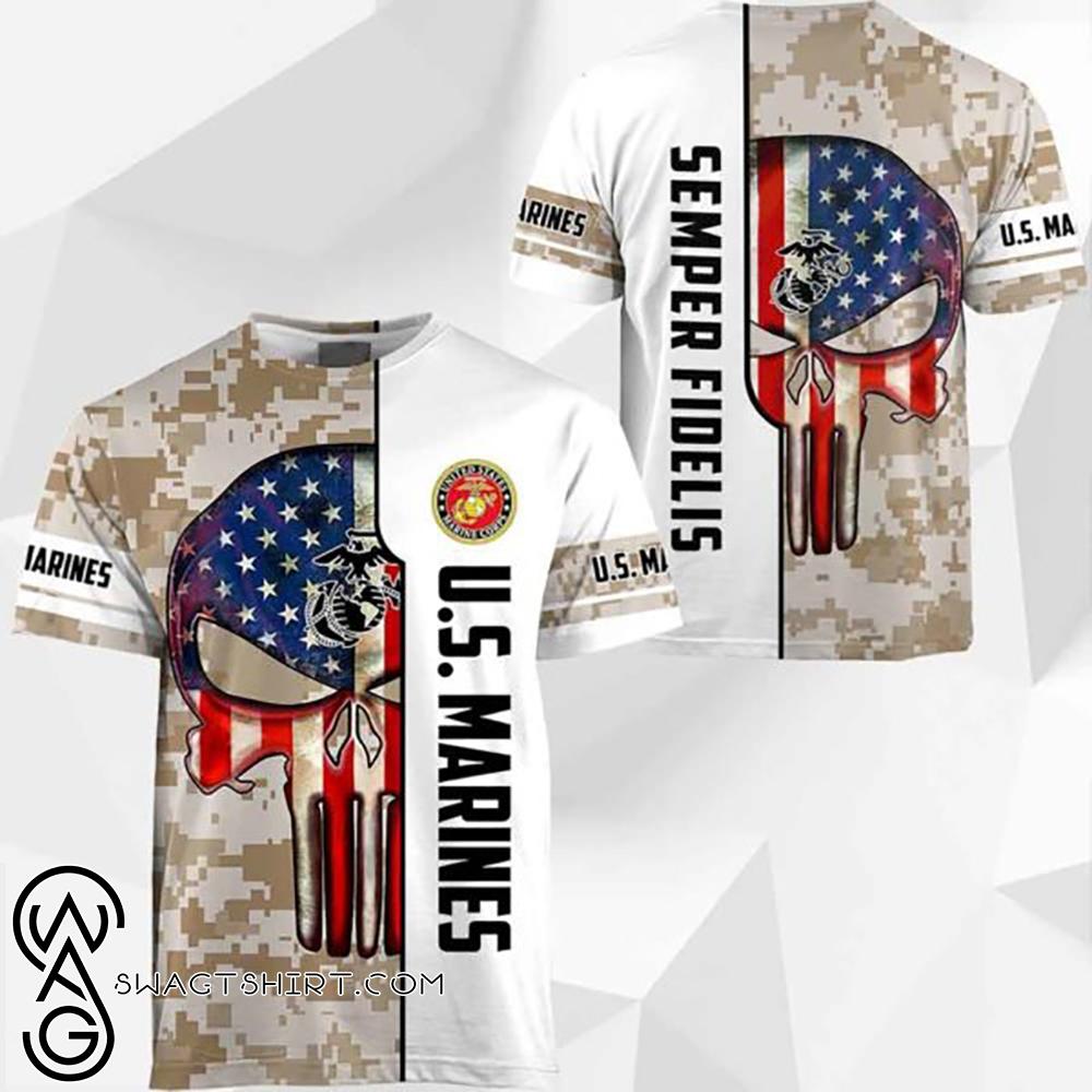 Skull us marine corps semper fidelis full printing shirt