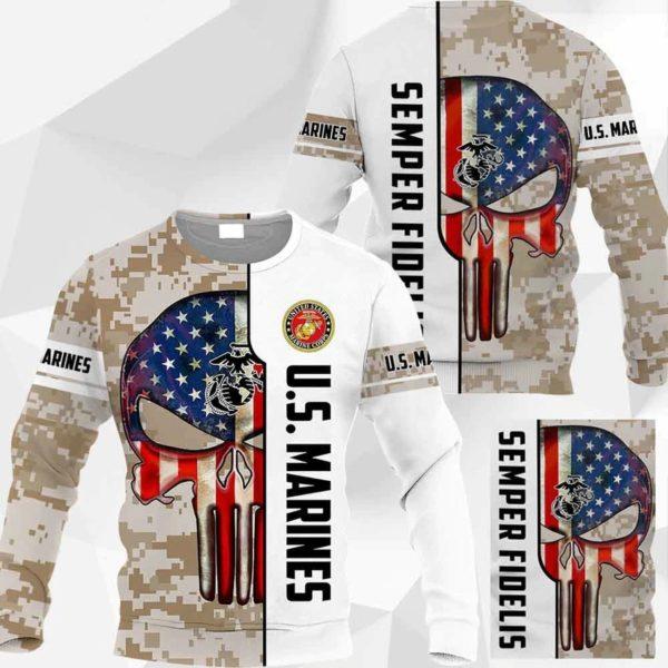 Skull us marine corps semper fidelis full printing sweatshirt 1