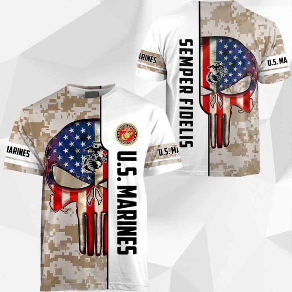 Skull us marine corps semper fidelis full printing tshirt