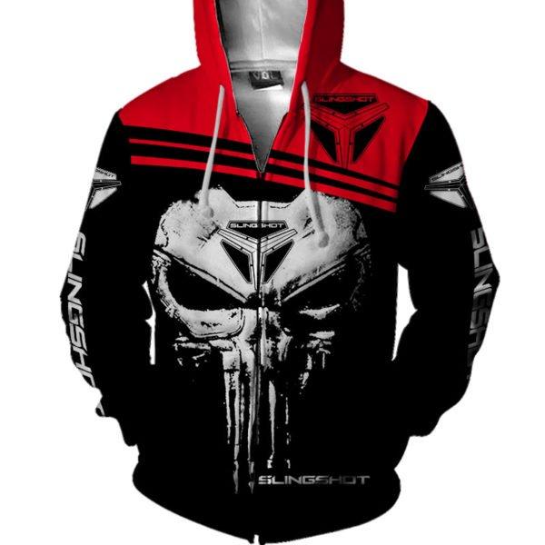 Slingshot skull full printing zip hoodie