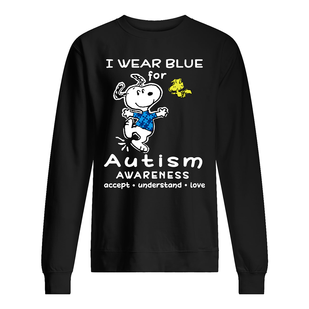 Snoopy i wear blue for autism awareness sweatshirt