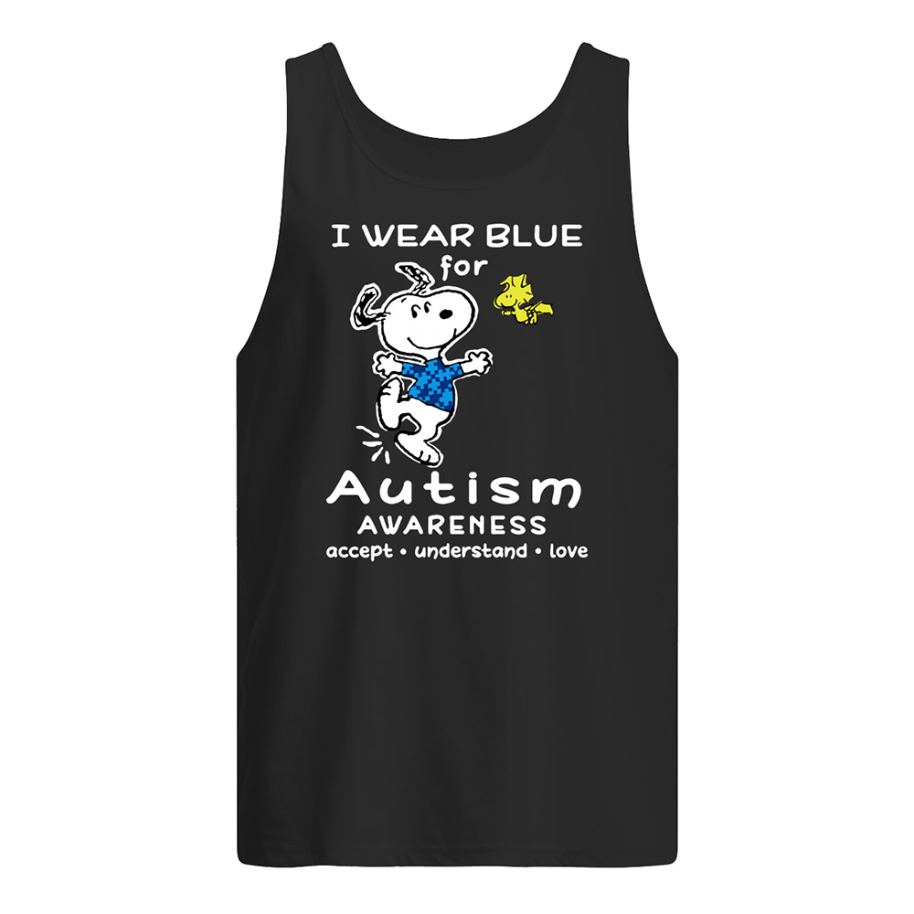 Snoopy i wear blue for autism awareness tank top