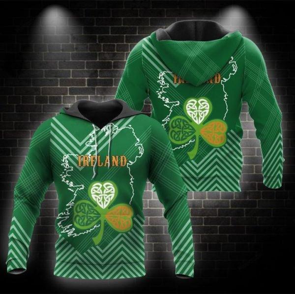 St patrick's day ireland full printing hoodie