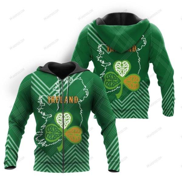St patrick's day ireland full printing zip hoodie