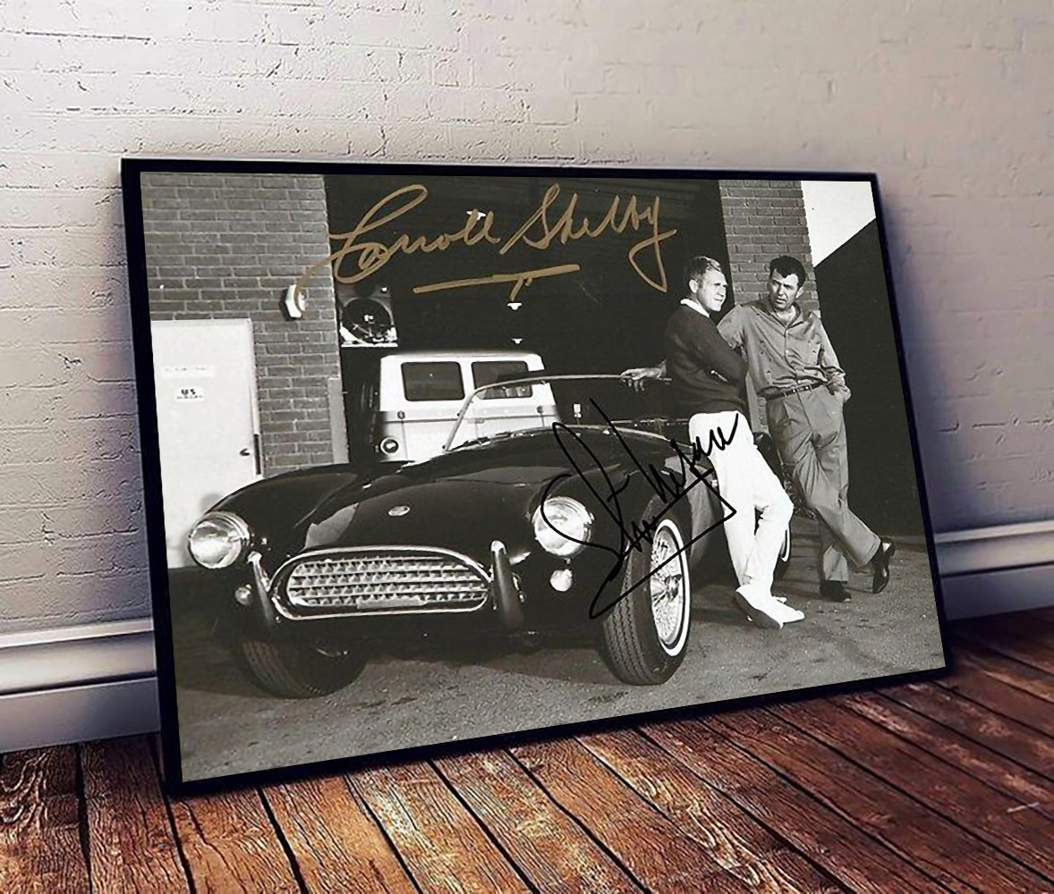 Steve mcqueen and carroll shelby poster 2