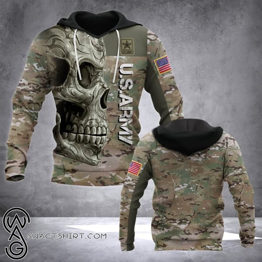 Sugar skull us army camo full printing shirt