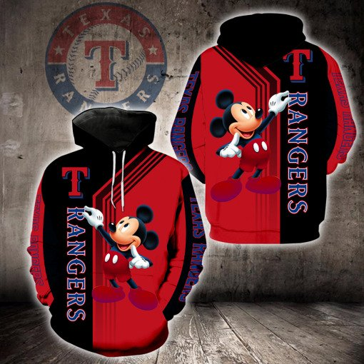 Texas rangers mickey mouse full printing hoodie