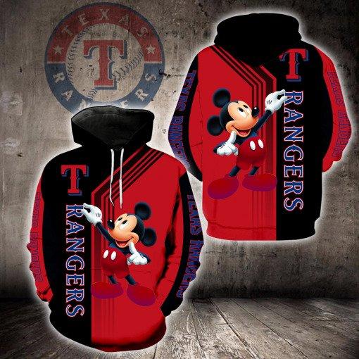 Texas rangers mickey mouse full printing hoodie
