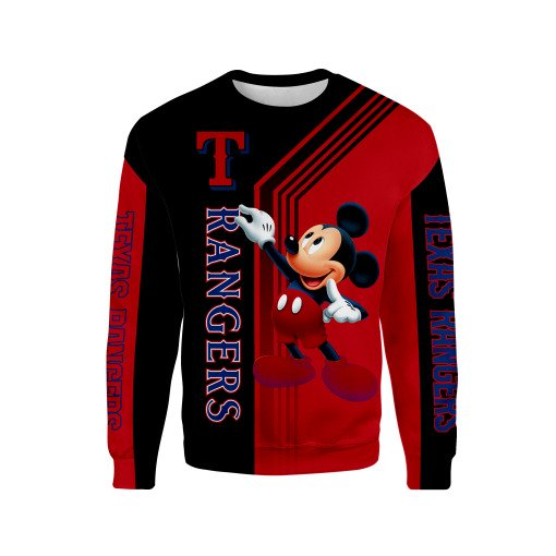 Texas rangers mickey mouse full printing sweatshirt