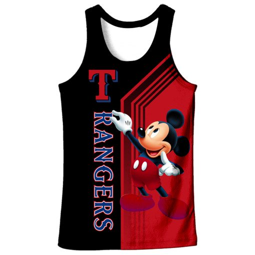 Texas rangers mickey mouse full printing tank top