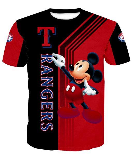 Texas rangers mickey mouse full printing tshirt