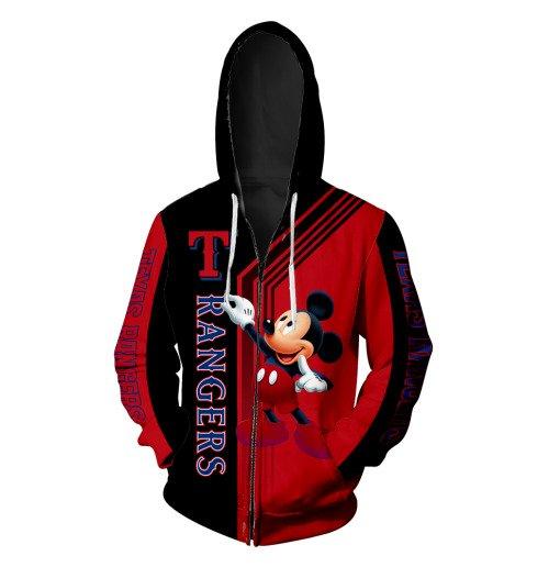Texas rangers mickey mouse full printing zip hoodie