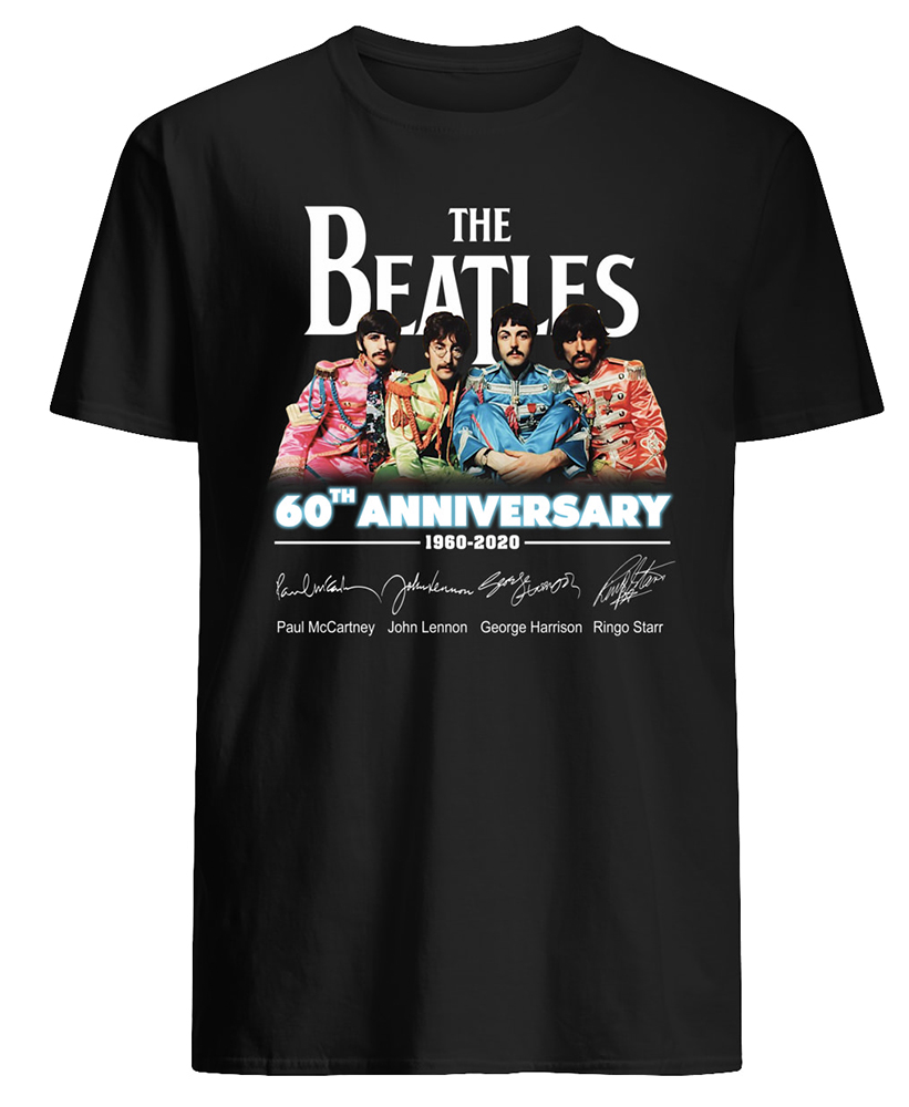 The beatles 60th anniversary 1960-2020 signatures mens shirt