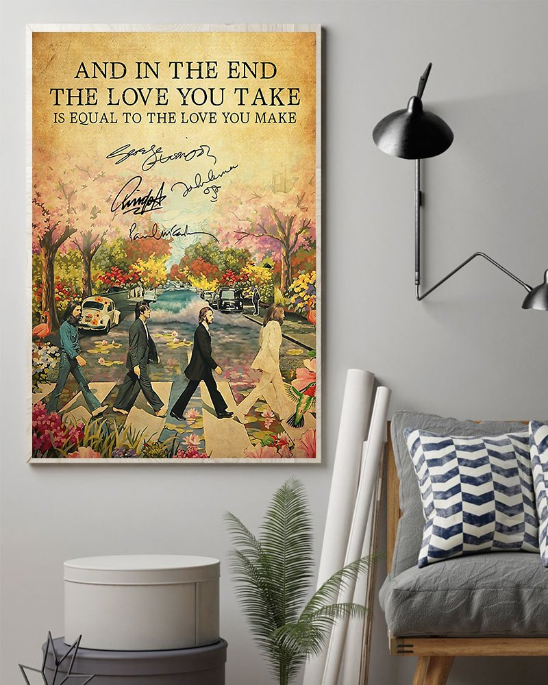 The beatles and in the end the love you take lyrics poster 2