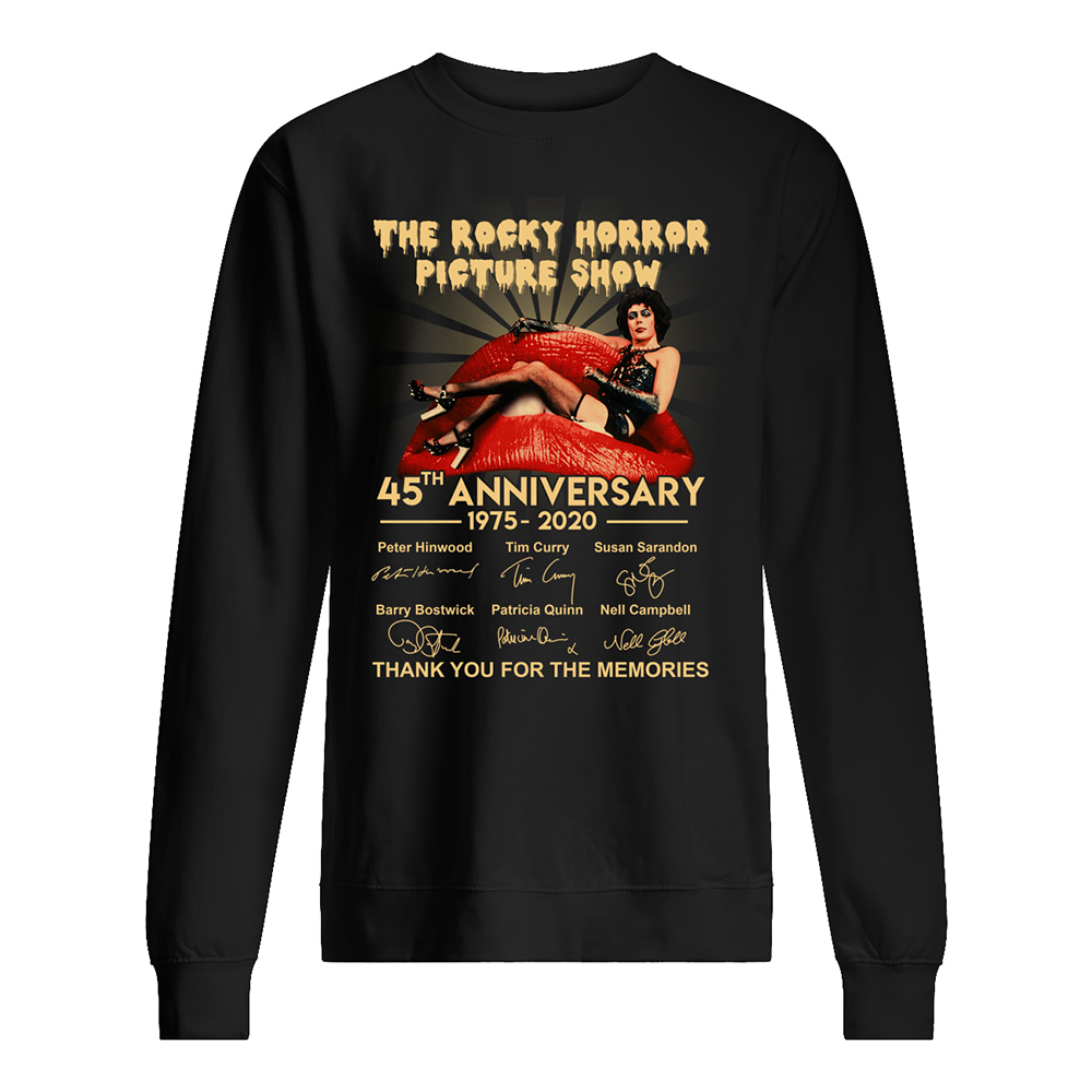 The rocky horror picture show 45th anniversary 1975-2020 signatures sweatshirt