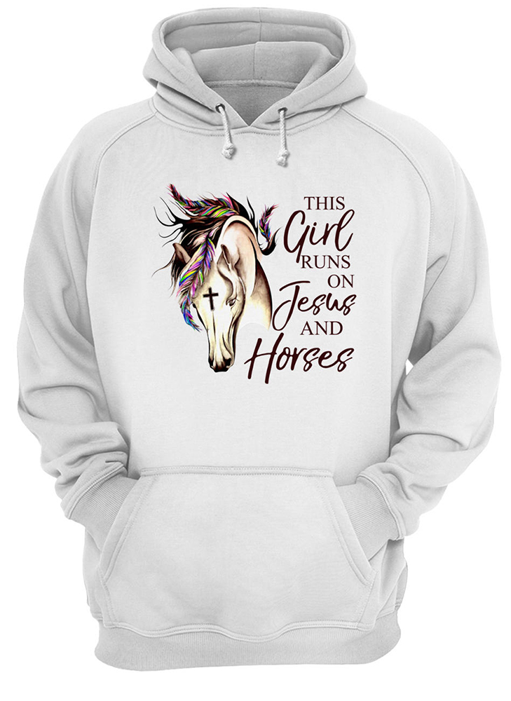 This girl runs on jesus and horses hoodie